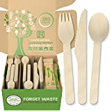 Woodland Premium Disposable Wooden Cutlery - 380 Pieces Jumbo Pack of Biodegradable Utensils Set with 160 Forks, 100 Spoons, 60 Knives – Bonus 20 Wooden Silverware Packs by Nook & Fork
