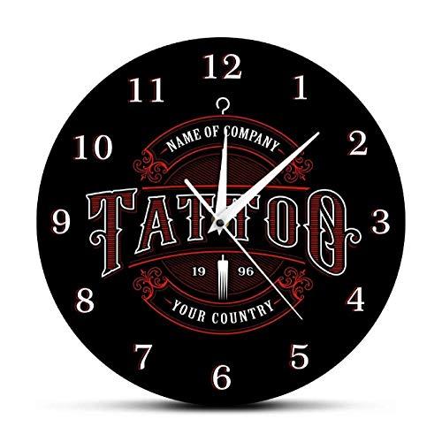 tyjsb Tatuaje Personalizado Studto Nombre Acrílico Reloj de Pared Tatuajes Pistola Artista Regalo Arte Corporal Tatuajes Salón Logotipo Nombre de la Empresa 30X30cm