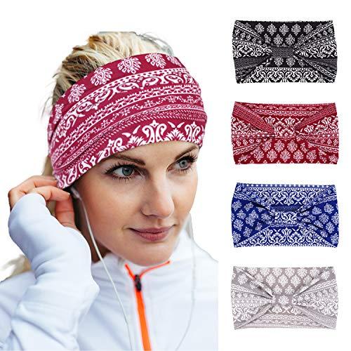 Lulucheri Stirnband Damen, Haarband Breites Boho Damen Kopfband Blumen Turban, Frauen Bandana Haarbänder für Alltag Yoga Sport Fitness(Paisley-Knoten-4pack)