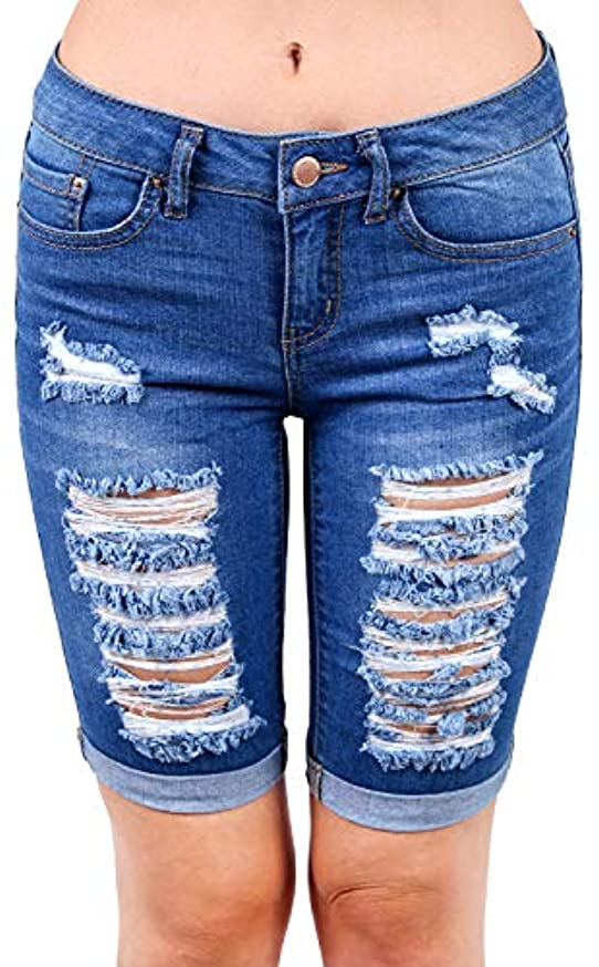 Wax Womens Bermuda Whiskers Pants | Jean Shorts | Jeans for Women | Distressed Jeans