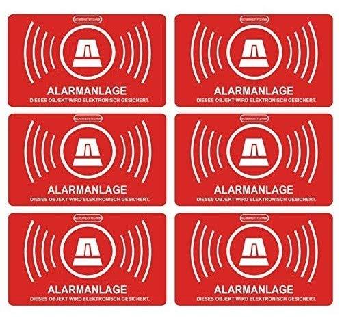 König Werbeanlagen alarmgesichert Folie 5 x 3 cm, wetterfest/UV Schutz, Aufkleberset, 6 Stück