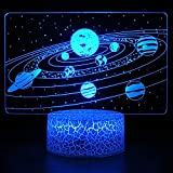HYODREAM Solar System 3D Optical Illusion Side Table Lamp Universe Space Galaxy Night Light for Kids, Room Decor Light, Gift for Boys and Girls