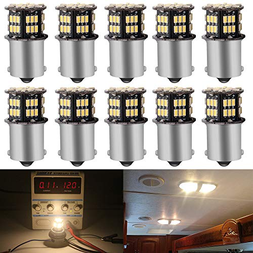 Price comparison product image JAVR - Pack of 10 - Warm White 3000K 1156 BA15S 1141 1003 1073 7506 LED Bulbs 3014 54-SMD Replacement Lamps for 12V Interior RV Camper Trailer Lighting Boat Yard Light Backup Tail Bulbs