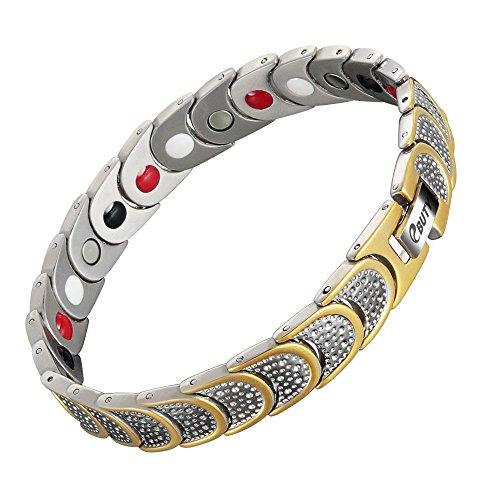 Ebuty Titanarmband für Magnetfeldtherapie, 4Elemente gegen Arthritisschmerzen, Silber und Gold