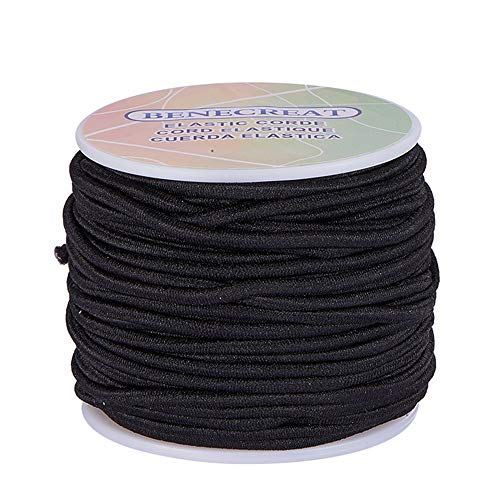 BENECREAT 3mm 20 Yards Elastic Cord Stretch Thread Beading Cord Fabric Crafting String (3mm, Black)