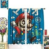 Petpany Cortina redonda de microfibra Super Mario Game Comics de 183 x 160 cm, para cocina y cocina. Se utiliza en dormitorio, guardería, sala de estar.