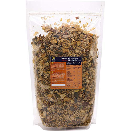 Maria Lucia's Keto Granola 1KG Resealable Bulk Bag, Pecan & Almond - Low Carb - No Gluten - No Added Sugar, Salt or Palm Oil - High Fibre - Healthy & Natural Breakfast Cereal - LCHF