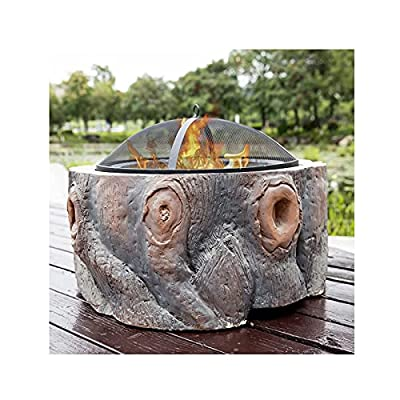 Fire Pit Outdoor Wood Burning fire Pit, Villa Courtyard Bonfire Wood Burning fire Pit, with Round Spark Screen and Metal Grate, Household Heating Stove from Lijack