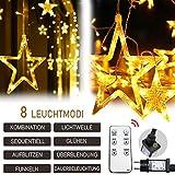 12 Sterne Lichterkette,138LED warmweiss Lichtervorhang weihnachtslichter Sternenvorhang 8 Modi mit Fernbedienung Innen Außen Sterne Vorhang Lichter Für Weihnachten,Party,Hochzeit,Garten, Balkon, Deko - 5