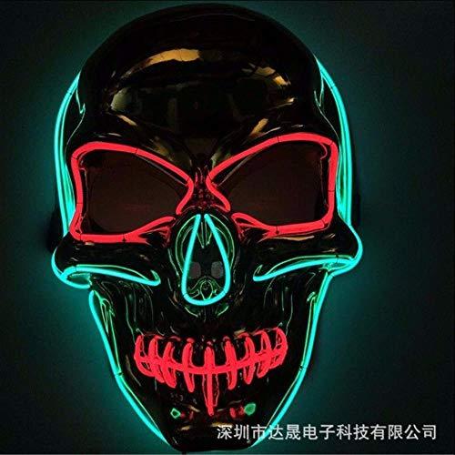 WGvnyqydlinyiming1342ndh009 Máscara luminiscente de Halloween con Forma de Calavera de Halloween Máscara cosmética El Cold Light Ghost Day, Azul