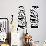 WERWN Niños de Dibujos Animados Pegatinas de Pared Sala de Lectura de Libros Biblioteca Escuela jardín de Infantes Arte decoración de Interiores Puertas y Ventanas Pegatinas de Vinilo murales
