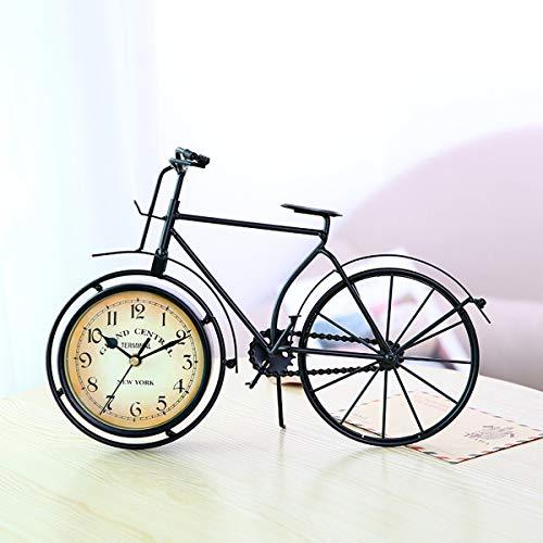 Greatangle Orologio a Forma di Bicicletta Vintage Orologi da Tavolo silenziosi creativi Decorazioni per la casa retrò per Soggiorno Sala Studio Cafe Black