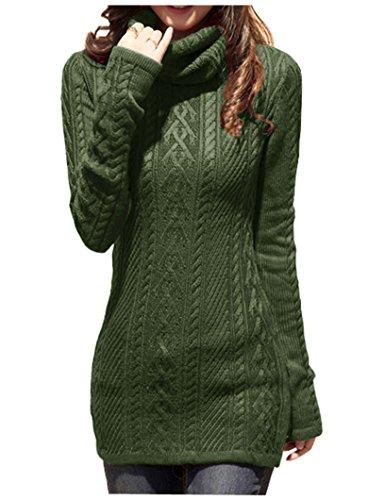 v28 Women Polo Neck Knit Stretchable Elasticity Long Slim Sweater (S,ArmyGreen)