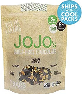JOJO's Guilt Free Dark Chocolate Low Sugar, Low Carb, Added Protein, Pistachios, Almonds, and Dried Cranberries, 8.4oz Bag With 7 Bars, One Week Supply