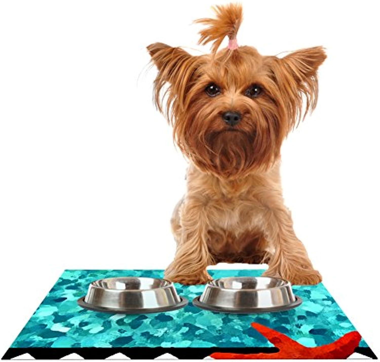 Kess InHouse Oriana Cordero Turquoise Ocean bluee Aqua Feeding Mat for Pet Bowls, 24 by 15Inch
