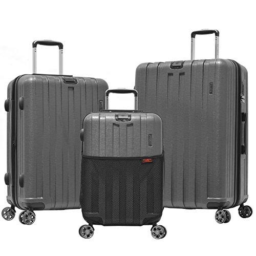 Olympia Sidewinder 3 Piece Luggage Set 21/25/29 Inch, Gray, One Size