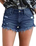 luvamia Women's High Rise Jean Shorts Frayed Raw Hem Denim Shorts Solid Deep Blue, Size L