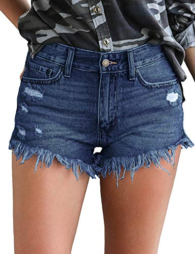 luvamia Women's High Rise Jean Shorts Frayed Raw Hem Denim Shorts Solid Deep Blue, Size M