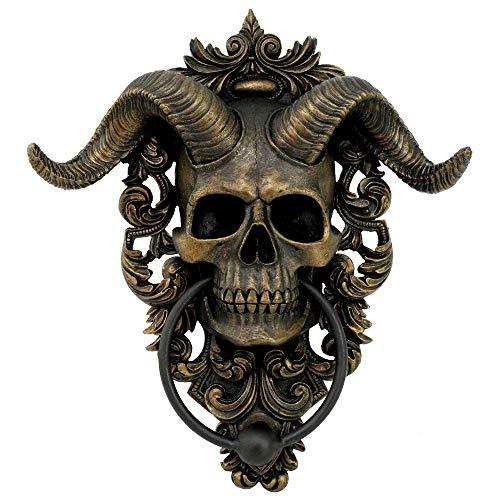 Nemesis Now Diabolus Horned Skull Door Knocker, Gold Türklopfer mit Totenkopf-Motiv, goldfarben, 25 cm
