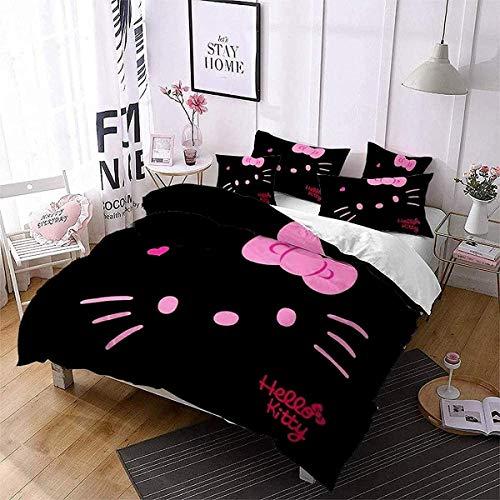 QWAS Hello Kitty, 100% microfibra, muy suave, lisa y cómoda, funda nórdica para niñas (1,220 x 240 cm + 50 x 75 cm x 2)