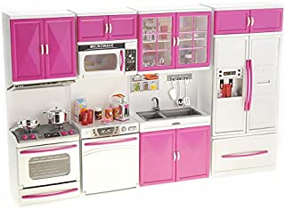 PowerTRC My Modern Kitchen 32 Full Deluxe Kit Battery Operated Toy Doll Kitchen Playset w/ Lights, Sounds, Perfect for Use with 11-12