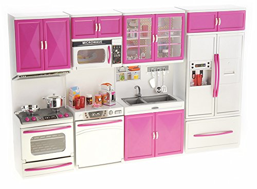 PowerTRC My Modern Kitchen 32 Full Deluxe Kit | Battery Operated | Toy Doll Kitchen Playset w/ Lights, Sounds | Perfect for Use with 11-12