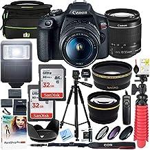 Canon T7 EOS Rebel DSLR cámara con lente EF-S 0.709-2.165in f/3.5-5.6 es II y dos (2) tarjetas de memoria SDHC de 16 GB más kit de limpieza de batería doble paquete de accesorios), E15CNEOSRT71855