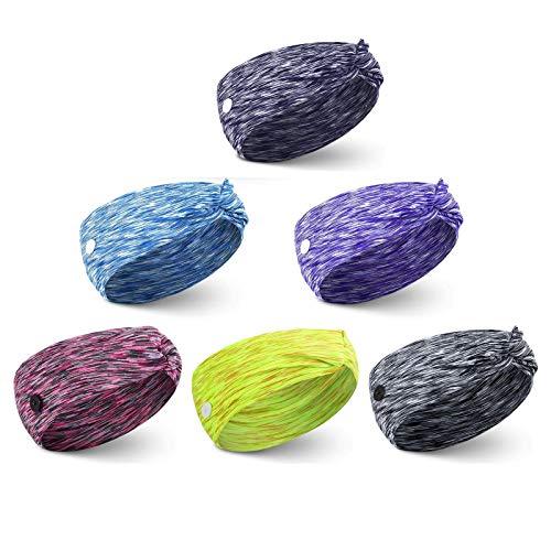 Vinchas envolventes con botones anudados botón ancho elástico Yoga Deportes Hairbands 6 piezas