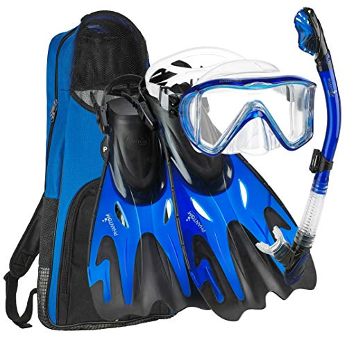 Phantom Aquatics Italian Collection Legendary Panoramic View Mask Fin Dry Snorkel Set with Deluxe Snorkeling Gear Bag… (Blue, S/M, 5-8)