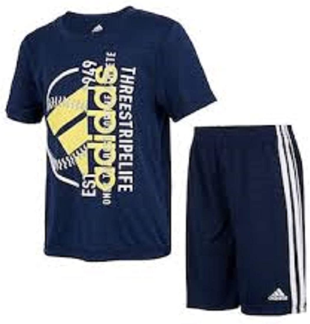 adidas Boys Three Stripe Life Three Stripes Active Sport Tee T-Shirt & Shorts Set