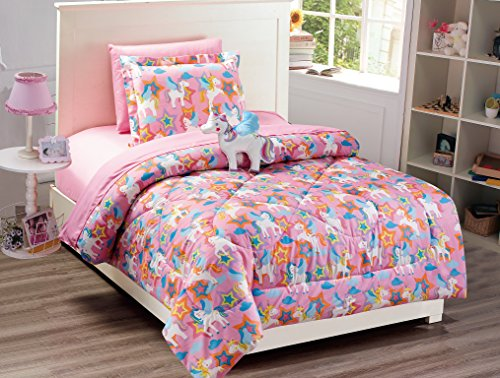 Elegant Home Multicolor Pink Purple White Blue Orange Unicorn Design Fun 6 Piece Comforter Bedding Set for Girls / Kids Bed In a Bag With Sheet Set and Decorative Toy Pillow No. Pony (Twin)