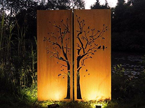 Gartenwand Sichtschutz Diptychon Baum rost Stahl 150x195 cm