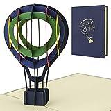 Tarjeta de viaje con globo aerostatico pop up. Cupon regalo, felicitacion cumpleaños, tarjeta cumpleaños o cheque regalo. Tarjeta 3d para todas las ocasiones, H12