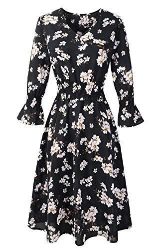 FUTURINO Damen Retro-Blumenmuster Kleid V-Ausschnitt Chiffon Kleid Langarm Blumen A Linie Blumen...