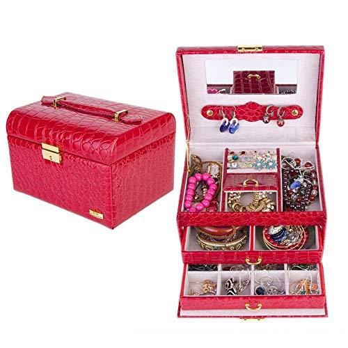 ZUQIEE Espejo de baño, caja de joyería de cuero, organizador de joyas con espejo, collar, anillo, joyería, maquillaje, caja de regalo de cumpleaños, regalo de boda para pendientes, collar y pulsera