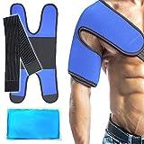 Paquete de hielo para el hombro con soporte - Terapia de compresión de soporte del hombro ajustable y reutilizable para el dolor del brazo, la tendinitis, la artritis y más.