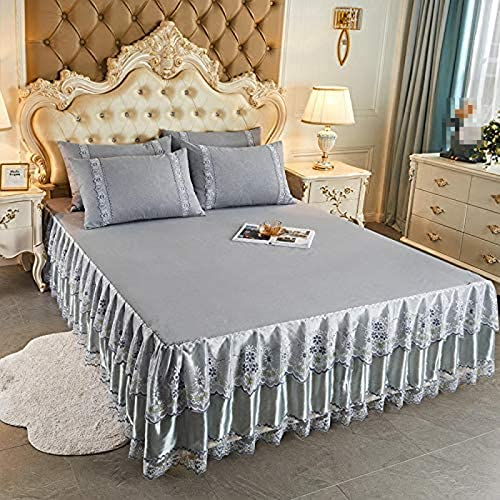 XiaoLuBan Jacquard Lace Ruffle Light Gray Bedspread Sheet and 2 Pillow Shams Set, King size