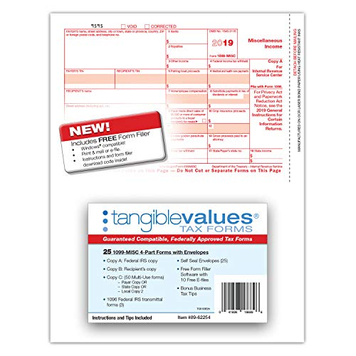 1099 Misc Tax Forms 2019 - Tangible Values 4-Part Kit with Envelopes - Software Download Included, 25 Pack Photo #7