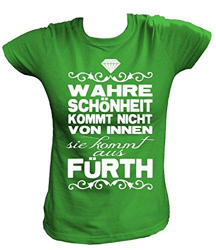 Artdiktat Damen T-Shirt - Wahre Schönheit kommt Nicht von Innen - Sie kommt aus Fürth Größe M, grün