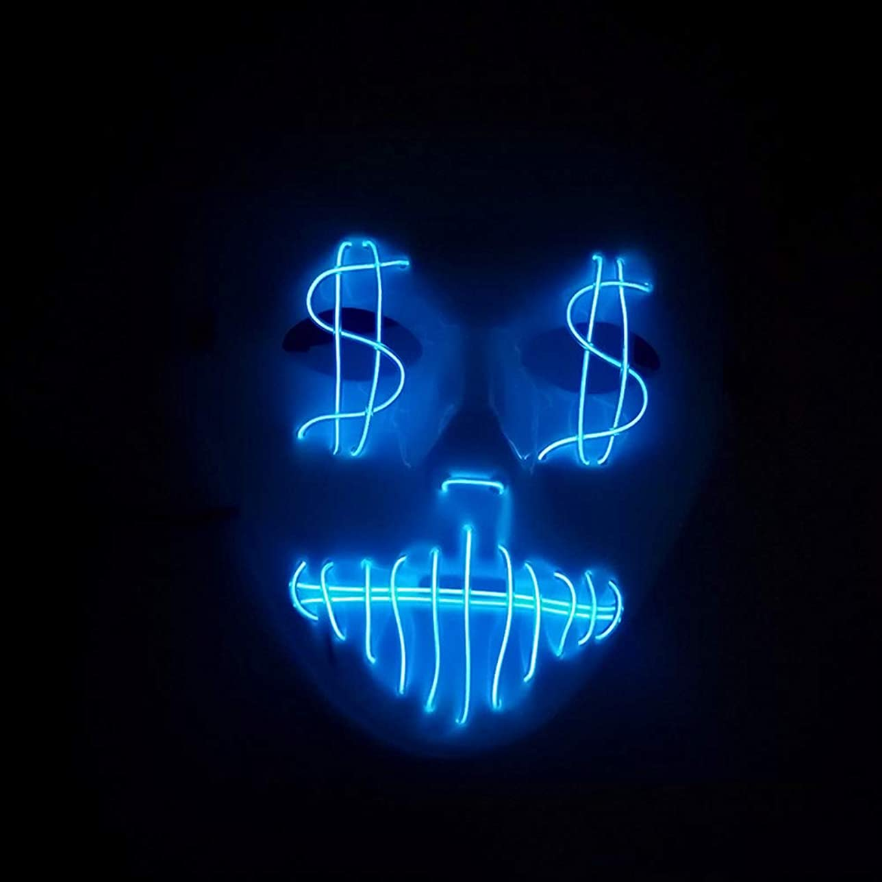 失業者トラフ血まみれテロ イルミネーション LED マスク 2個 ハロウィン EL ワイヤー ゴールドライン 口を絞る プロム パーティー マスク (18 * 18 * 9センチメートル) MAG.AL