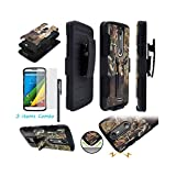 For ZTE Max Duo 4G Z963VL / ZTE Grand X Max 2 Z988 / ZTE Imperial Max Z963U / Ituffy 3item: LCD Film+Stylus Pen+ Dual Layer Shock Proof Belt Clip Holster Combo KickStand Armor Case (Tree Deer Black)