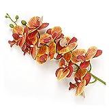 HYCy Flores Artificiales Orquídea Flores Artificiales con Maceta para la decoración del jardín del hogar Real Touch Falso látex Orquídeas Flores Bonsai Flores Artificiales (Color: Naran
