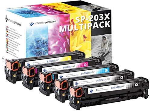 4 Schneider Printware Toner | 40% höhere Reichweite | kompatibel zu HP 203X, 203A, CF540X, CF541X, CF542X, CF543X für HP Color Laserjet Pro MFP M281fdw, M280nw, M281fdn, M254nw, M254dw, M254n