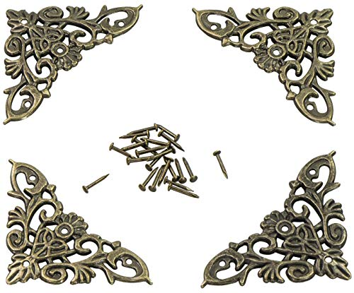 LAUBLUST Metall Ornamente im 4er Set - Messing Style ca. 65 x 37 x 2 mm - Florales Jugendstil Design...