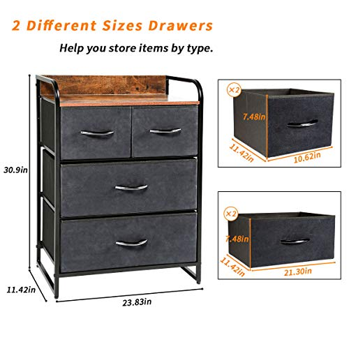 Kamiler Tower Unit for Bedroom, Hallway, Entryway Closets - Sturdy Steel Frame, Wooden Top, Removable Fabric, Bins
