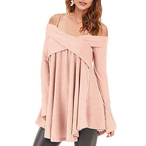 Rosegal Frauen Kalt Schulter Langarm Crossover Sweater Strickpullover Tunika Top (S, Pig ROSA)