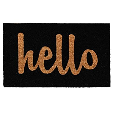 Home & More Black/Natural Script Hello Doormat, 1'5  x 2'5
