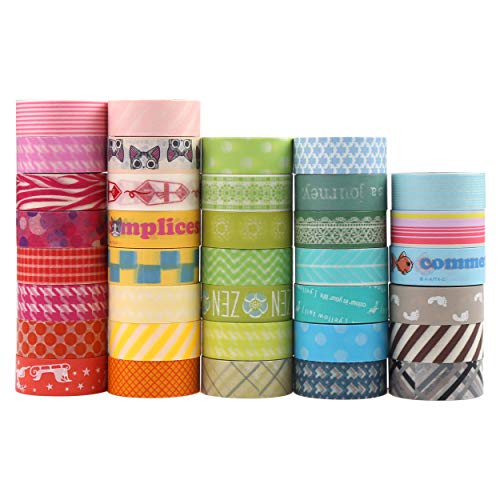 CCINEE 36 Roll Washi Masking Tapes,Washi Masking Decorative Tapes for DIY Decor Planners Scrapbooking Adhesive School Party Supplies