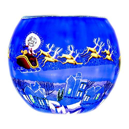 Benaya Vetro Luce Notturna Natale Portacandele Tea Light - Here Comes Babbo