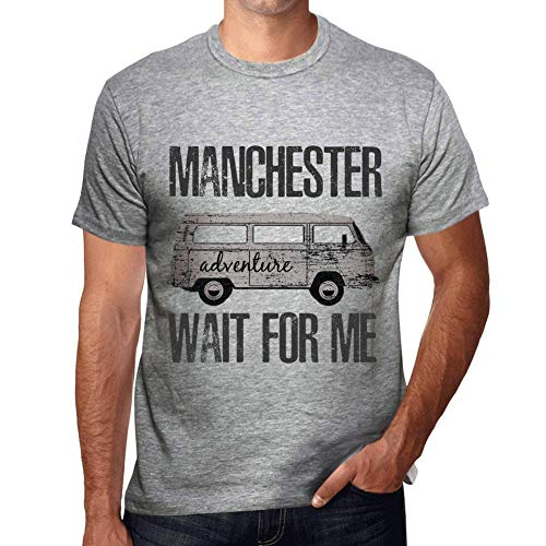 One in the City Hombre Camiseta Vintage T-Shirt Gráfico Manchester Wait For Me Gris Moteado